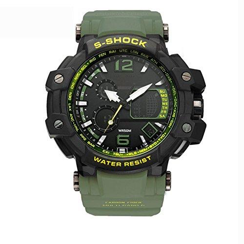 MIAO 50 Meter wasserdichte Multifunktionssport Herren LED elektronische Uhr mit Wochenanzeige / Alarm / Kalender / Chronograph / Monatsanzeige , army green