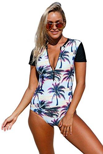 Tragen ärmel (Neue Strand Sonnenuntergang gedruckt Reißverschluss vorne Hälfte Ärmeln Monkini Badeanzug Bikini Bademode Sommer tragen Größe UK 8EU 36)