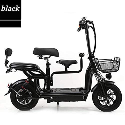 Joy Elektroroller DREI-Personen-Sitz Zwei-Rad Mini Erwachsenen Breitreifen Elektroauto Doppelsitz Faltbare Elektrofahrzeug LED-Scheinwerfer