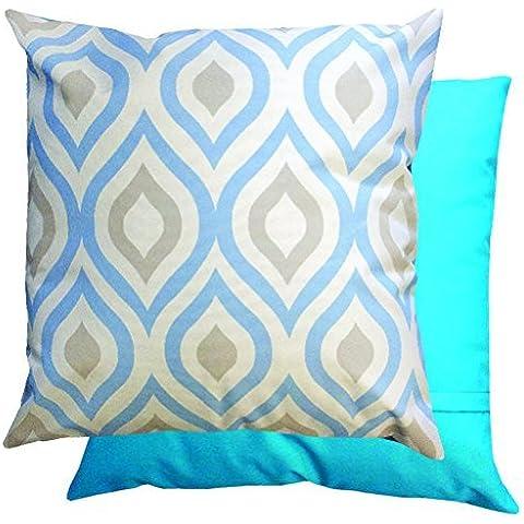 Blue & grigio motivo geometrico impermeabile per esterni cuscino imbottito per canna/mobili da giardino