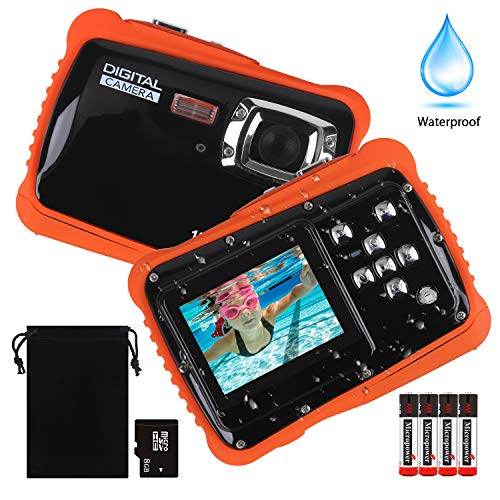 LordFord Underwater Camera for Kids, 12MP HD Photo Resolution Underwater Camcorder with 8X Digital Zoom, Flash Mic and 8G SD Card and Batteries Included- Easy to Use for Children(Black) Underwater Digital Video Camera