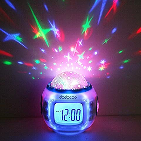 Bluelover Música cielo estrellado proyección reloj de alarma calendario termómetro mesa escritorio relojes