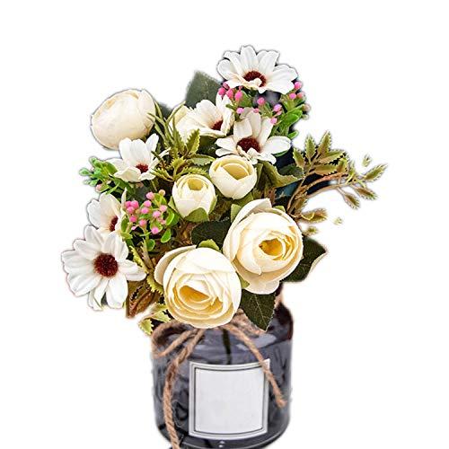 Lian store, fiori artificiali di seta artificiali, fiori autunnali, gerbera, margherite, in plastica, per matrimoni, accessori per la casa, sintetico, bianco, taglia unica
