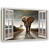Feeby Dekobild Elefant Deko Wand Kunstdruck 3D Illusion Grau 60x40 cm