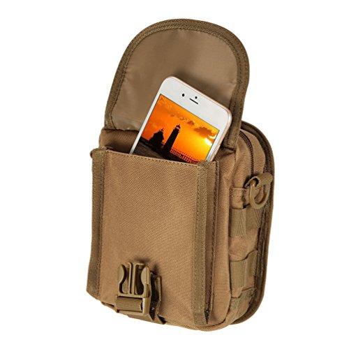 Vbiger Männer Umhängetasche Nylon Outdoor Umhängetasche Verstellbare Reise-Kuriertasche Mini taktisch Schultertasche Braun