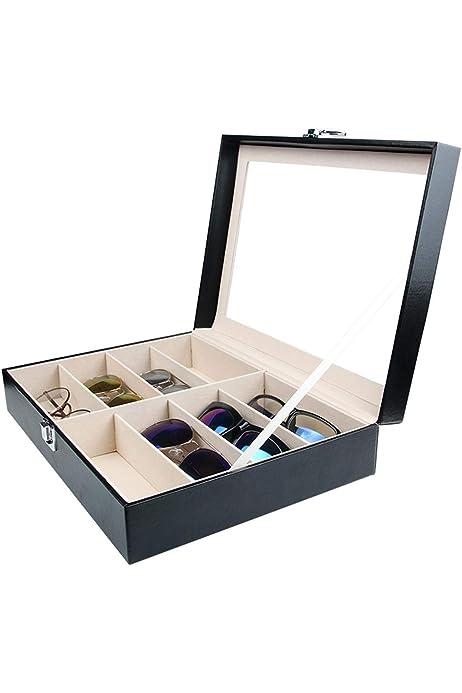 Tebery - Caja para Gafas con Ventana de Cristal para 8 Pares de Gafas, de Piel sintética, Color Negro, 33,7 x 24,5 x 8,4 cm (8 Compartimentos): Amazon.es: Juguetes y juegos