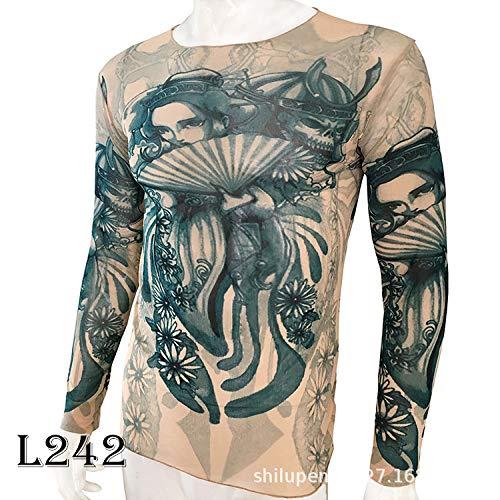 Kostüm Arcade - tzxdbh Tattoo Tattoo Langarm T-Shirt Damen Fan Digitaldruck Boden Shirt Musik Festival Kostüm L242 仕女 170CM-182CM 60KG-110KG