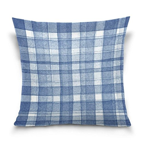 pants hats Watercolor Navy Plaid Gingham Checkered Stripe Square Throw Pillow Case Cotton Velvet Cushion Cover 18