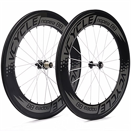 VCYCLE Nopea 700C 88mm Carbon Road Bike Wheel Copertoncino Set for Shimano or Sram 8 / 9 / 10 / 11 Speed