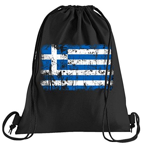 Touchlines Griechenland Vintage Flagge Fahne Sportbeutel – Bedruckter Turnbeutel mit Kordeln