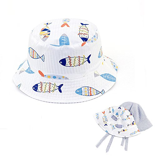 Baby Sonnenhut Junge Fisherhut Kinderhut mit Fisch-Muster, UV-Schutz 50/ Kopfumfang 46-52CM, Beidseitig Tragbar Wende-Hut