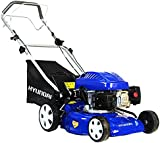 Hyundai HYM43SP 139 cc Self-Propelled Rotary Petrol Lawn Mower Soft Grip Handle, Six Heights