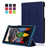 Etui Tablette Lenovo Tab 3 7 Essential 710F,Housse en PU Cuir Flip Case Cover Etui de Protection pour Lenovo Tab 3 7 Essential (Tab3-710) / Tab3 A7-10 7''Pouces Tablette ave Support de Fonction,Bleu marine