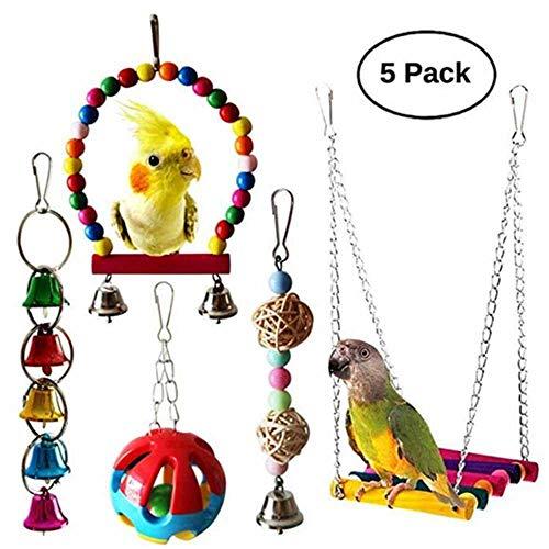 Umiwe Set di 5 Pezzi Giocattoli Pappagallo di Uccelli, Colorato Uccello Giocattolo da Masticare Altalena Appesa Giocattoli Gabbia per Piccoli Parrocchetti (S3)