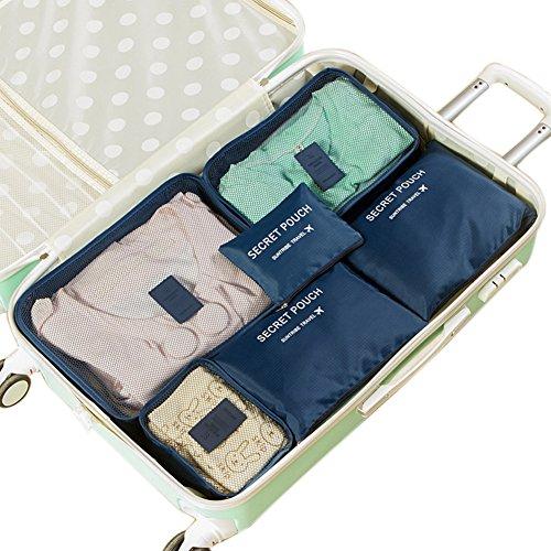 Belsmi Reise Kleidertaschen Set 6-teilig Reisetasche in Koffer Reisegepäck Organizer Kompression Taschen Kofferorganizer Mit Schuhbeutel (Blau) Navy Blau
