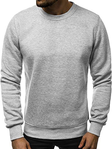 OZONEE Herren Sport Fitness Training Crewneck Täglichen Modern Sweatshirt Langarmshirt Pullover Warm Basic J. Style 2001-10 L GRAU -