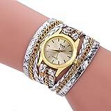 Frauen Armbanduhr Multilayer Woven Schlangenleder Quarzwerk Armband Armbanduhr Armbanduhr (Silber)