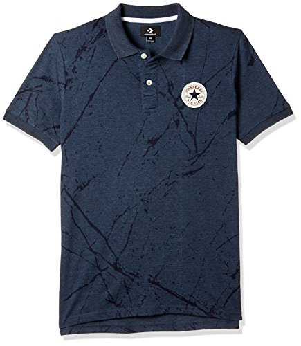 Converse Men's Printed Regular Fit Polo (CONVSS18025A_Navy Melange-AOP_Small)