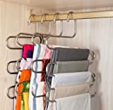 #6: Pindia 1Pc 'S' Shape Stainless Steel 5 Layer Pant Hanger, Cupboard Organiser Space Saving Hanger