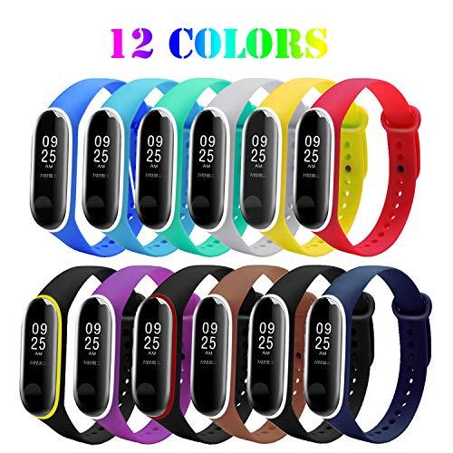 Mardozon 12 pezzi cinturini per xiaomi mi band 3 - orologio sostitutivo in silicone bracciale colorato estensibile per xiaomi sostituzione per braccialetto intelligente