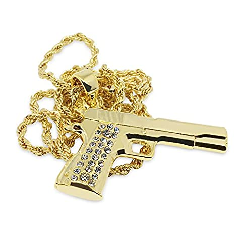 Premium Pistole 14K vergoldet Iced Out Hip Hop Bling Anhänger Kette Halskette