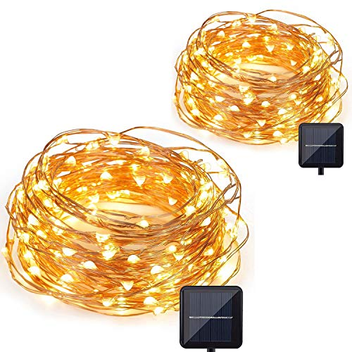 CMYK 2 Stück 10M 120er LED Solar Garten Lichterkette Außen Kupferdraht Wasserdicht Dekorative Lichterketten für Party, Weihnachten, Hochzeit (Warmweiß)
