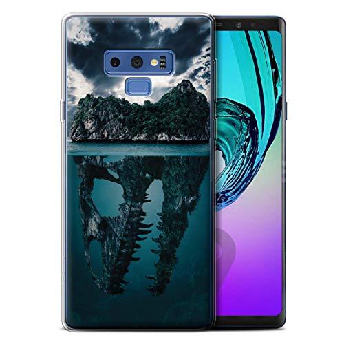 eSwish Gel TPU Hülle/Case für Samsung Galaxy Note 9/N960 / Tropische Insel/T-Rex Muster/Dinosaurier Jurassic Earth Kollektion T-rex-mobile Handy