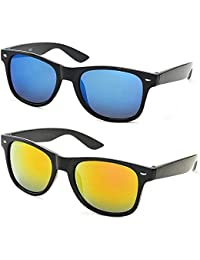 Designer Frames UV Protected Sports Unisex Sunglasses (BEL126|45|Blue and Yellow)