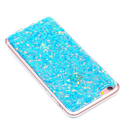 "MOONCASE iPhone 6 Plus/iPhone 6s Plus Hülle, Bling Glitter Weich TPU Handyhülle Ultra Slim Anti-Kratzer Stoßfest Schutz-tasche Case für iPhone 6 Plus/iPhone 6s Plus 5.5"" Golden Blau"