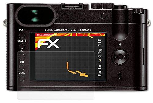 3 x atFoliX Folie Leica Q (Typ 116) Displayfolie - FX-Antireflex-HD Entspiegelung für hochauflösende Displays
