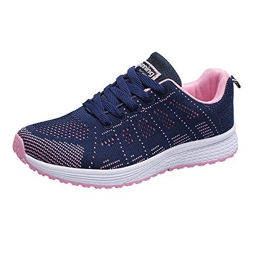 FNKDOR Damen Mode Mesh Runde Flache Turnschuhe Laufschuhe Freizeitschuhe (36 EU, Blau)