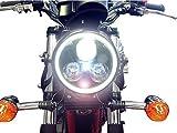 Metallo Nero 3 Eye Led Fanale per Motocicletta Integrato Super Luminoso Led Bianco Angel Eye Ring