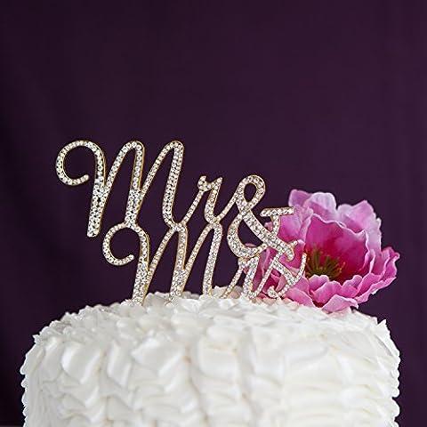 Mr & Mrs Wedding Cake Topper - Rhinestone Monogram Decoration (Gold)