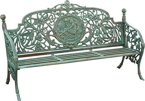 Banc realisé en Art Nouveau finition verte vieillie L184xPR70xH110 cm