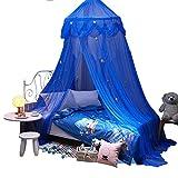 laamei Dosel para Camas Infantiles Mosquitera para Cama Princesa Cuna de Bebés Infantil Habitación Cortina con Cúpula Redonda(65cmx250cm) (Estrella Azul)