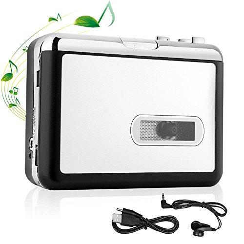 Kassettenspieler,Tragbarer Kassetten Digital Konverter und Player USB,MP3-Audio Musik über USB- Kompatibel mit Laptops und PC