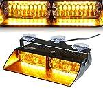 T Tocas 16 LED Hohe Intensität Recht Durchsetzung Warnblitzleuchten für Träger Auto LKW Innen Dach / Dash / Windschutzscheibe , mit Saugnäpfen, Bernstein