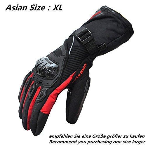 Motorrad Handschuhe Winter Sporthandschuhe Warm Handschuhe Touch Screen Wasserdicht Winddicht ( XL,Rot)
