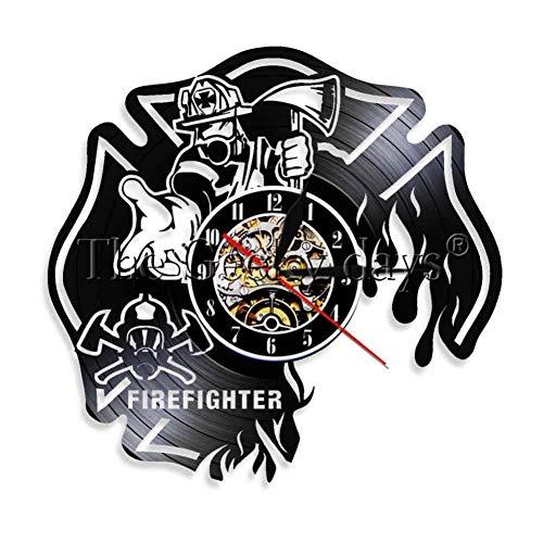 GHGXGJVintage Vinyl Wand Rekord Uhr Feuerwehrmann Thema Kunst CD Uhr Uhr Kreative Uhr Wohnkultur Handgemachtes Geschenk Für Feuerwehrleute -