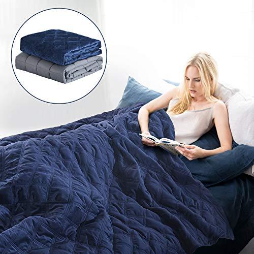 e Therapiedecke mit Bettbezug für Erwachsene - Schwere Decke für Besseren Schlaf - Beschwerte Decke gegen Schlafstörung - Weighted Blanket 150x200 cm, 6,8 kg, Grau ()