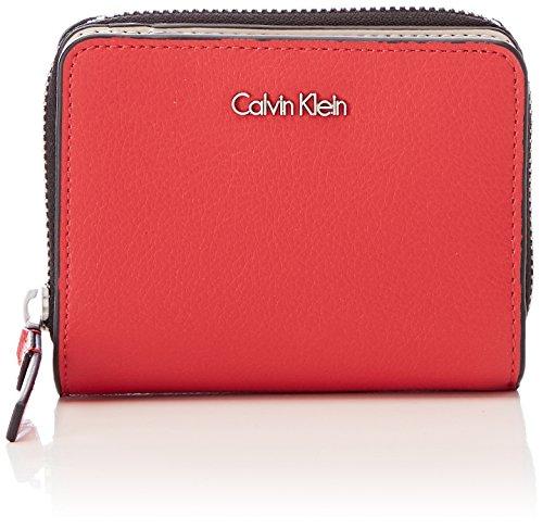 Brieftasche Kleine Brieftasche Frauen (Calvin Klein Damen Frame Medium Zip W/Flap Geldbörse, Rot (Scarlet), 2x9x12 cm)