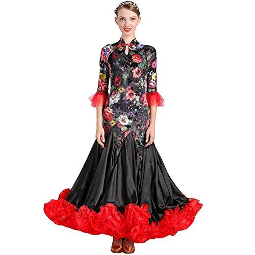 OOARGE Latin Tanzkleid weibliche Performance Samt Muster / Druck Falte Kleid , photo , (Mode Erwachsene Flapper Kostüme)