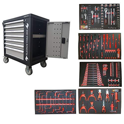 Platinum Tools Werkzeugwagen Werkstattwagen 7 Schubladen gefüllt mit Handwerkzeugen -