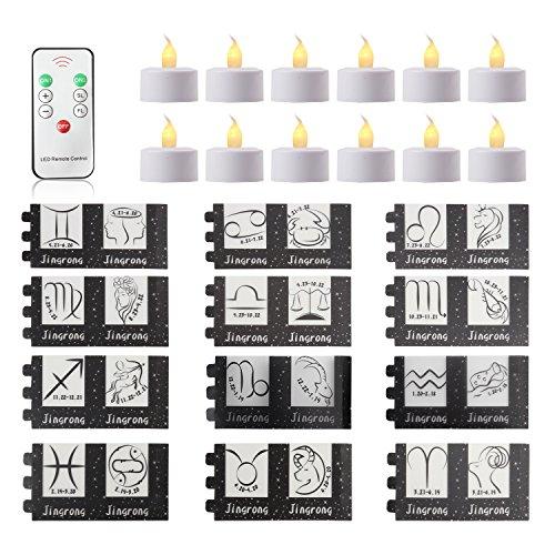 Jingrong Mini Velas de Té Decorativas Lámpara Constelaciones Luces de Té Blanco Cálido con 12 Signos del Zodiaco y Mando para Fiestas Vacaciones Festivales Bodas Decoración …