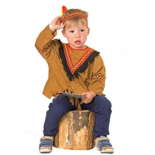 Kleinkind Indianer Kostüm - Baby Kostüm Indianerin Gr. 92 Rote Feder Karneval Fasching