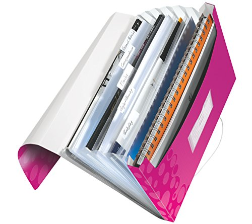 Leitz 45890023 Fächermappe WOW, A4, 6 Fächer, PP, pink metallic