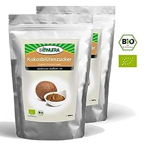 BioNutra Kokosblütenzucker Bio 2x1000 g braun, Kokoszucker, nicht raffiniert, natürlicher Blütenzucker aus kontrolliert biologischem Anbau.