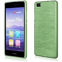 Ego® Silicona Case (para Huawei P8Lite, verde transparente) Cover, Funda, Metallic Effect