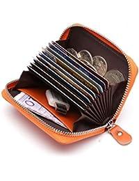 Portatarjetas de cuero genuino con monedero y espacio para 9 tarjetas