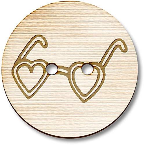 Azeeda 8 x 23mm 'Herz-Sonnenbrille' Runde Holz Knopfe (BT00073001)